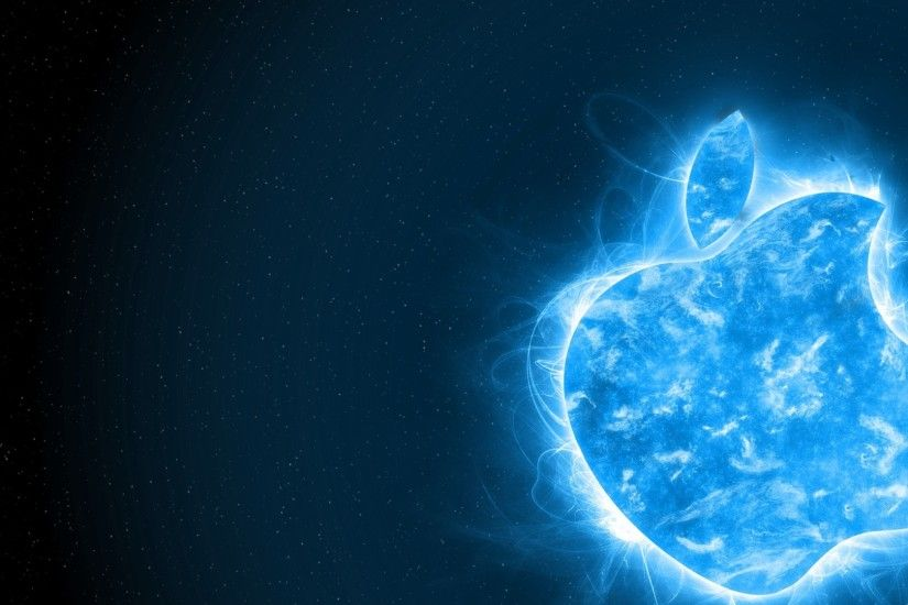 Electric Blue Apple Wallpaper.