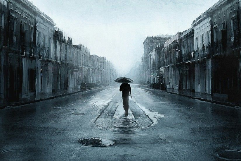 sad man with umbrella walking in a lonely street digital art artwork hd  wallpapers high definition cool apple mac tablet download free 1920×1200  Wallpaper ...