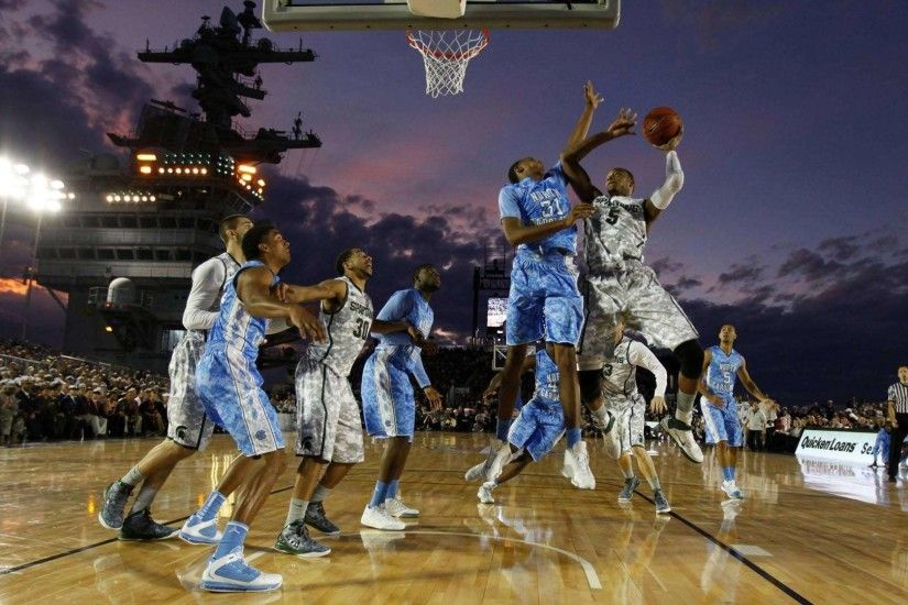 College basketball game on an aircraft carrier HD Wallpaper .