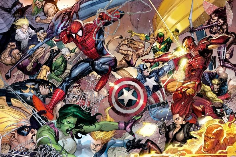 ... Marvel Superheroes Wallpaper Comic Cover at wilko.com ...