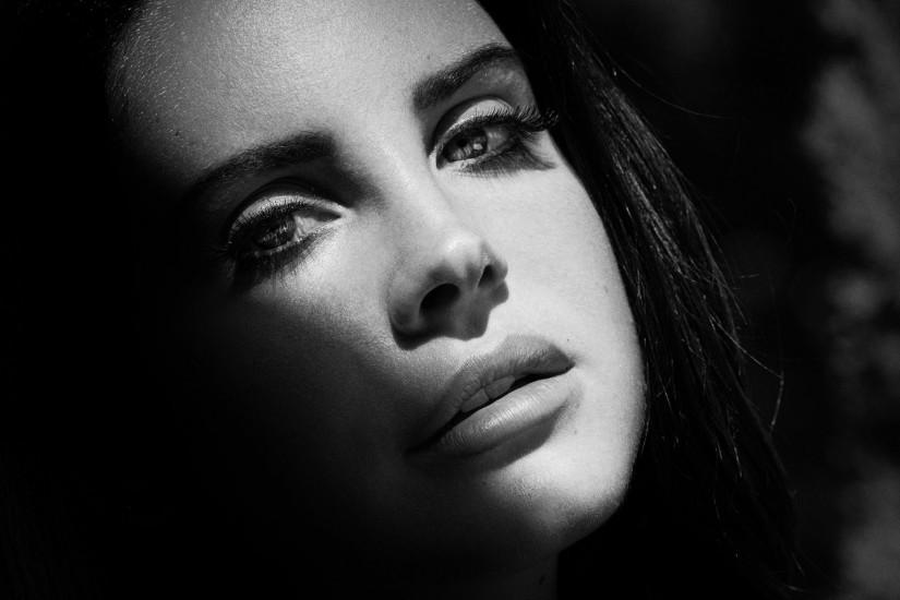 Preview wallpaper lana del rey, singer, celebrity, face, bw 3840x2160