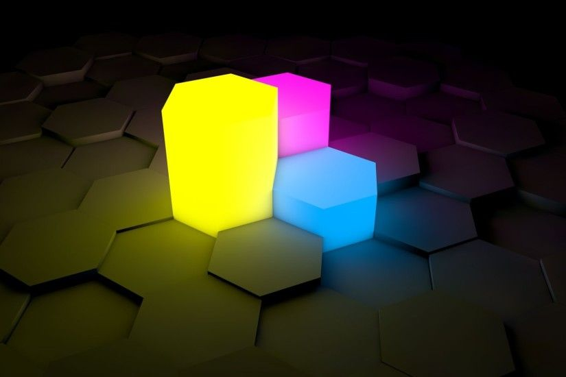 awesome neon hexagons high definition 3d wallpaper