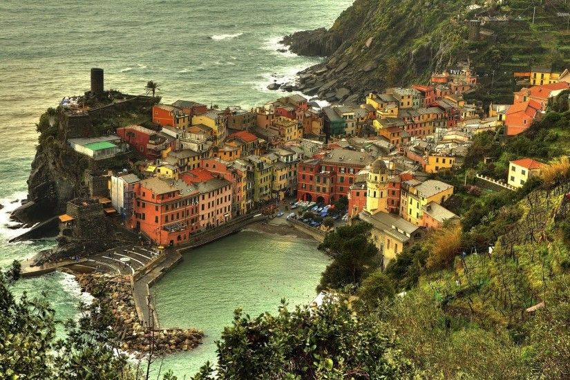 Cinque Terre on Italian Riviera coastline wallpaper 1920x1200 jpg