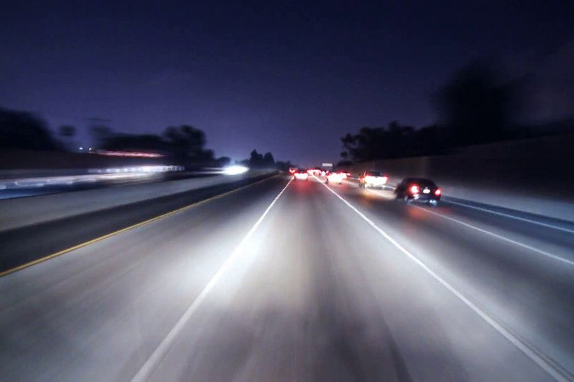 Nighttime LA Highway Driving Timelapse Stock Video Footage - VideoBlocks