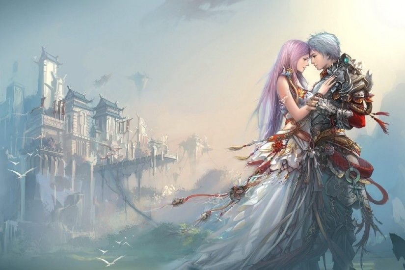 Free Download Cute Anime Couple Background.