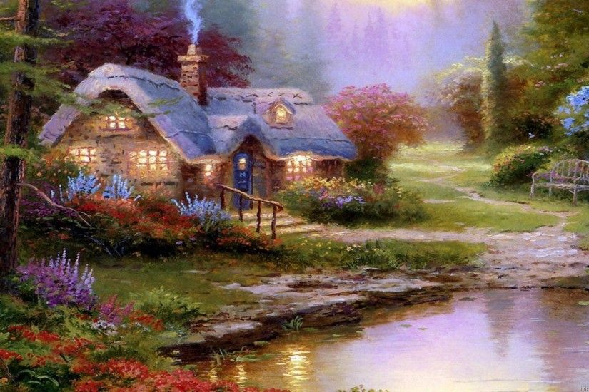 Thomas Kinkade Wallpaper, Paintings, Art, HD, Desktop, Thomas Kinkade