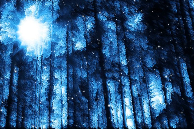 Subscription Library Abstract winter forest background and falling snow loop