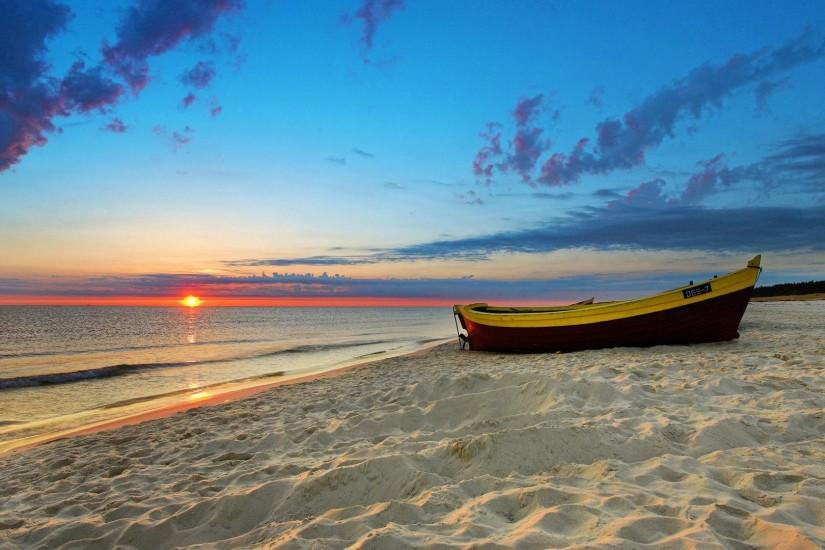 Wallpaper sand sea sunset boat 1920 x 1080 full hd