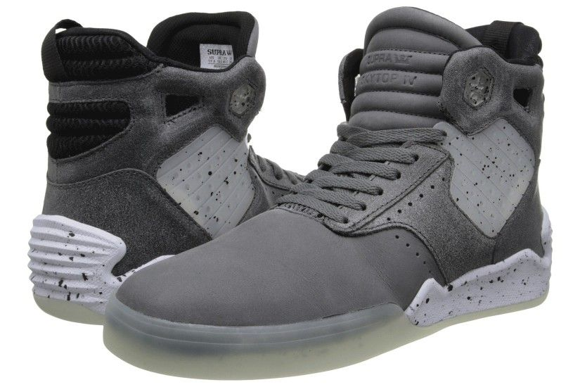 Charcoal/Black/White Supra Skytop IV Shoes For sale,supra logo,Big discount  on sale