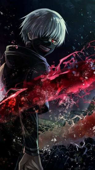 Preview wallpaper tokyo ghoul, kaneki ken, man, mask, magic, art 1080x1920