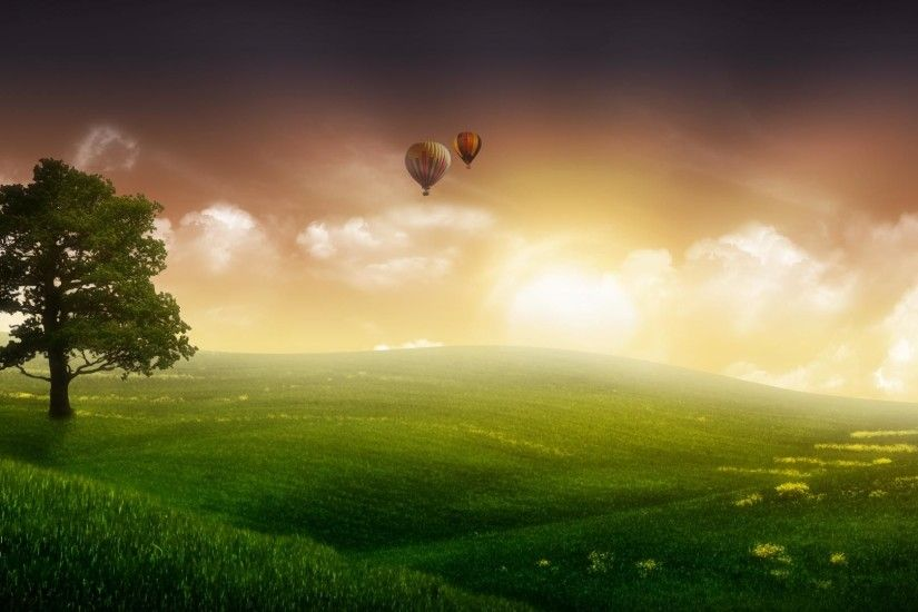 1920x1080 Green dream grassland and balloon in sky backgrounds wide  wallpapers:1280x800,1440x900,