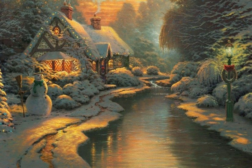 Thomas Kinkade Christmas Backgrounds