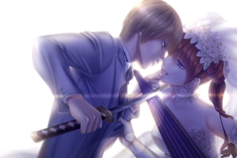 ... wallpaper · bride and groom, anime couple, love, swords, art, roman, art