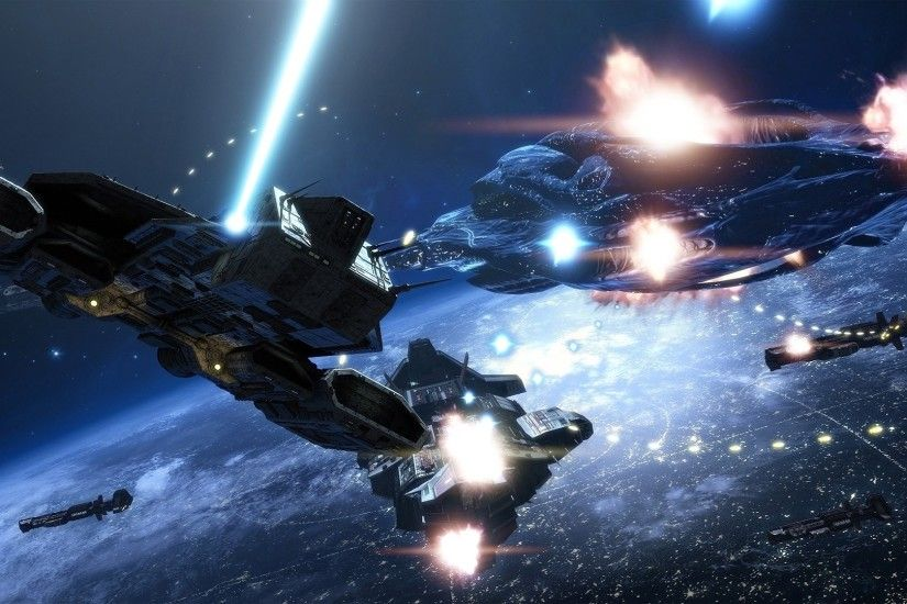 Preview wallpaper stargate battle spaceship laser orbit planet burst