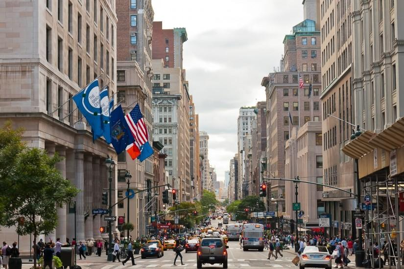 3840x2160 Wallpaper new york, city, street, traffic, people, cars, buildings