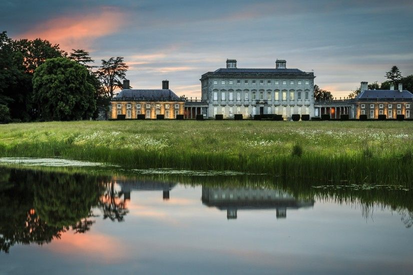 Preview wallpaper ireland, house, lake, pond, reflection, manor 3840x2160