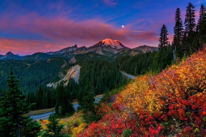 nature sunset mountains sky clouds forest park trees colors flowers walk  sunset nature tree forest park