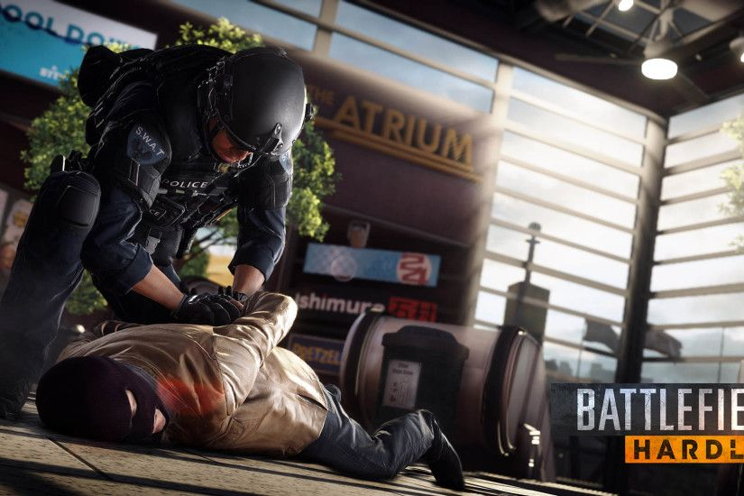 Battlefield Hardline - Policeman arrests robber 1920x1080 wallpaper