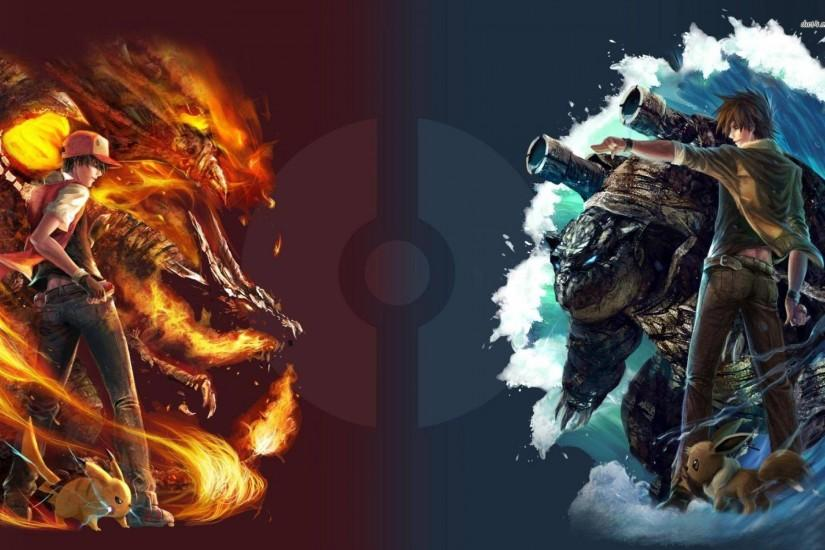red vs blue - Pokemon Wallpaper