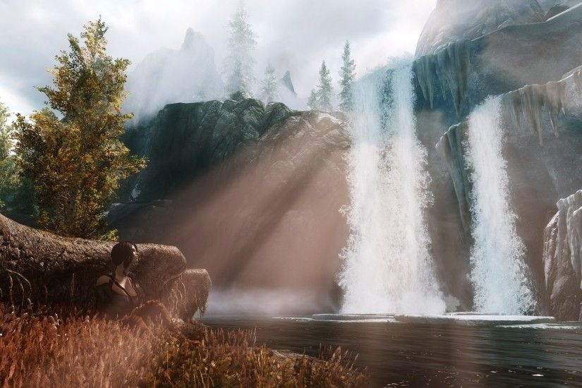 Skyrim Elder Scrolls Waterfall wallpaper | 2560x1440 | 85906 | WallpaperUP