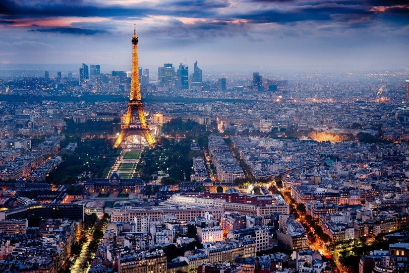 Night Paris, Eiffel Tower and bright HD Desktop Wallpaper