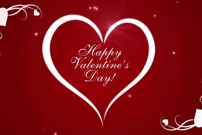 Footage Happy Valentine's Day with hearts on a red background