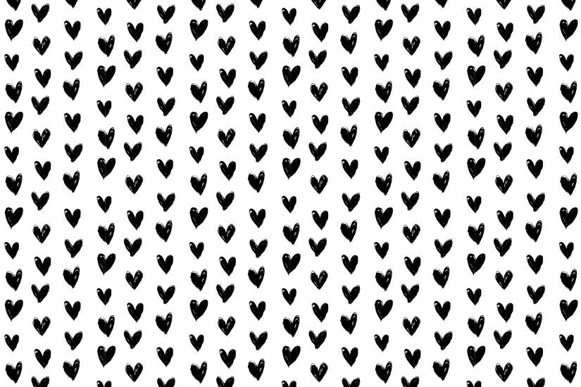 Mary Black and White Hearts Desktop Background Wallpaper