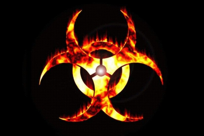 Fire biohazard symbol black wallpaper
