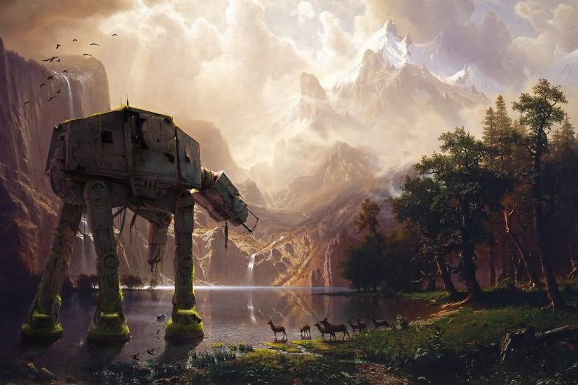 AT-AT Sierra Nevada Fantasy Landscape HD Wallpaper