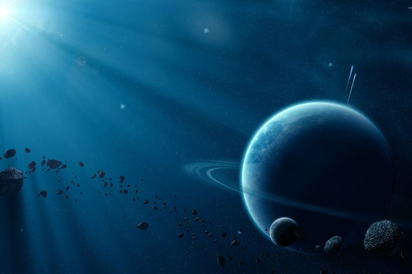 Asteroids near the planet wallpaper 2560x1600 jpg