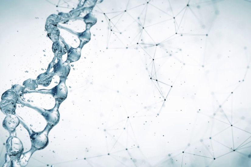 DNA molecule in water 3d illustration over white plexus background. HD  Motion Background - VideoBlocks