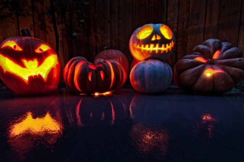 Preview wallpaper halloween, holiday, pumpkin, lanterns, faces 1920x1080