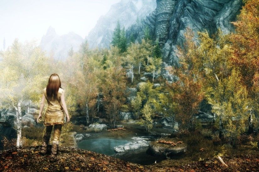 Download Wallpaper 1920x1080 Skyrim, Girl, Autumn, Trees Full HD .