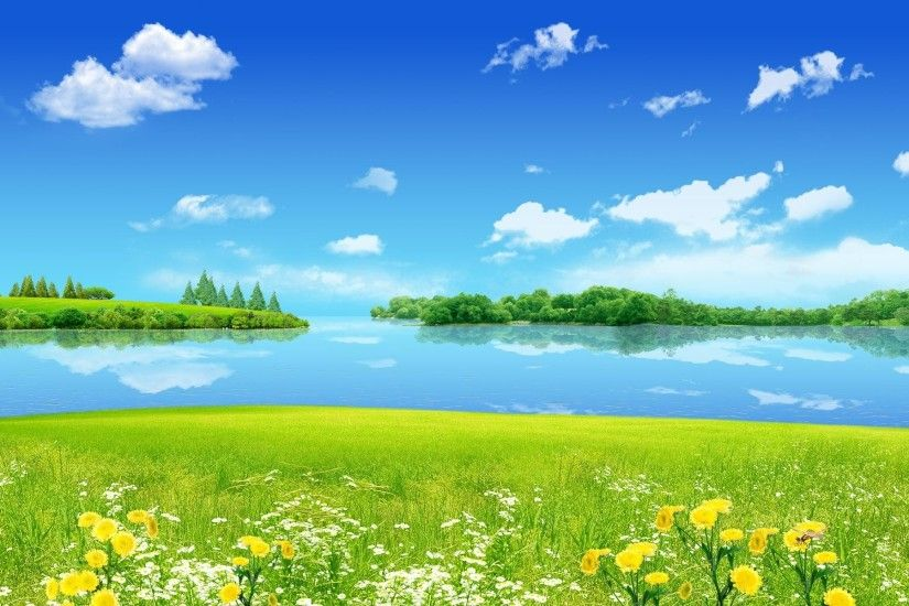 HD Natural Scenery Wallpaper – Creative Summer Dreamland, the Sky and the  Sea Are Quite Blue, Smiling Flowers, Everything is Turning Good