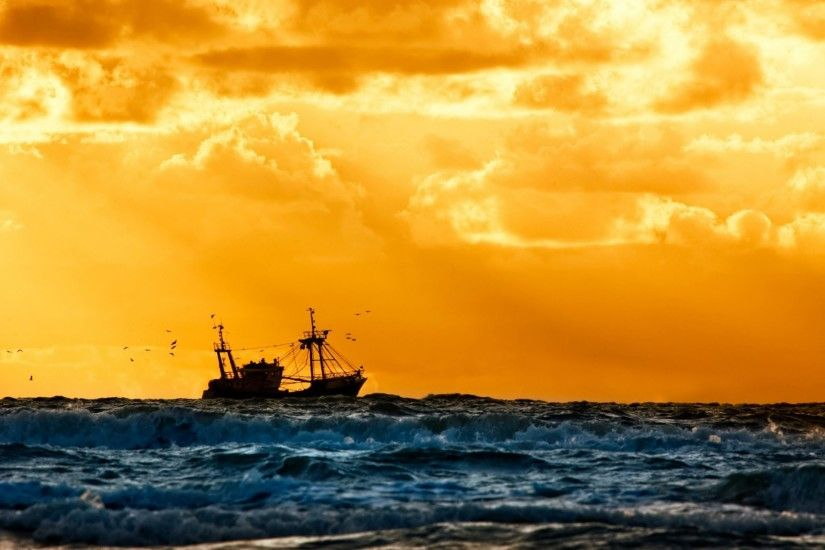 navy ship fishing ships sunset sea nice background .
