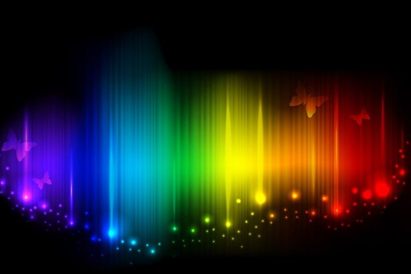 Preview wallpaper rainbow, lines, light, shade, butterflies, mood 2048x1152