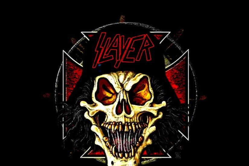 SLAYER death metal heavy thrash dark skull wallpaper .