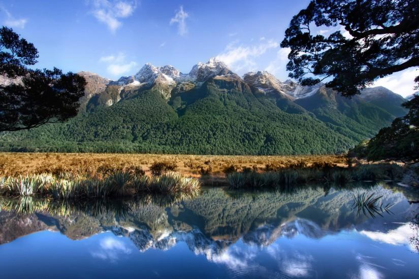 New Zealand, Milford Sound, Mirror Lake widescreen wallpaper | Wide-
