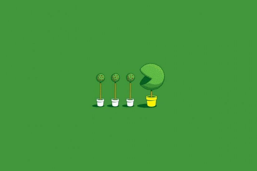 threadless, Simple, Minimalism, Humor, Pacman, Trees Wallpaper HD