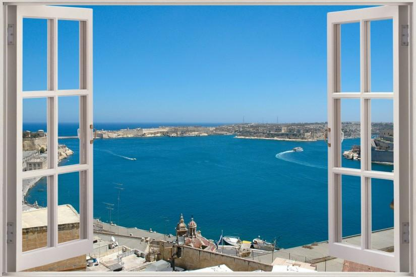 3D Window Exotic Ocean Beach View Wall Stickers Film Decal Wallpaper .