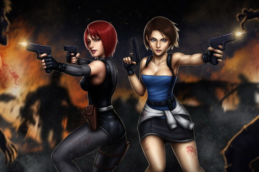 Wallpaper Resident Evil Zombie Firing Pistols Redhead girl Brown haired 3,  Regina, Jill Valentine