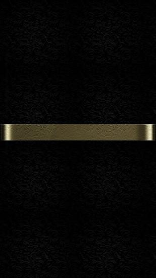 Free Download of Dark S7 Edge Wallpaper 09 with Black Background and Gold  Line with Floral