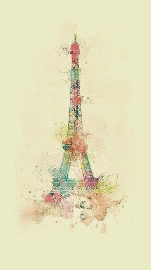Eiffel Tower Illustration Paris France Watercolor ☆ Find more vintage  wallpapers for your +