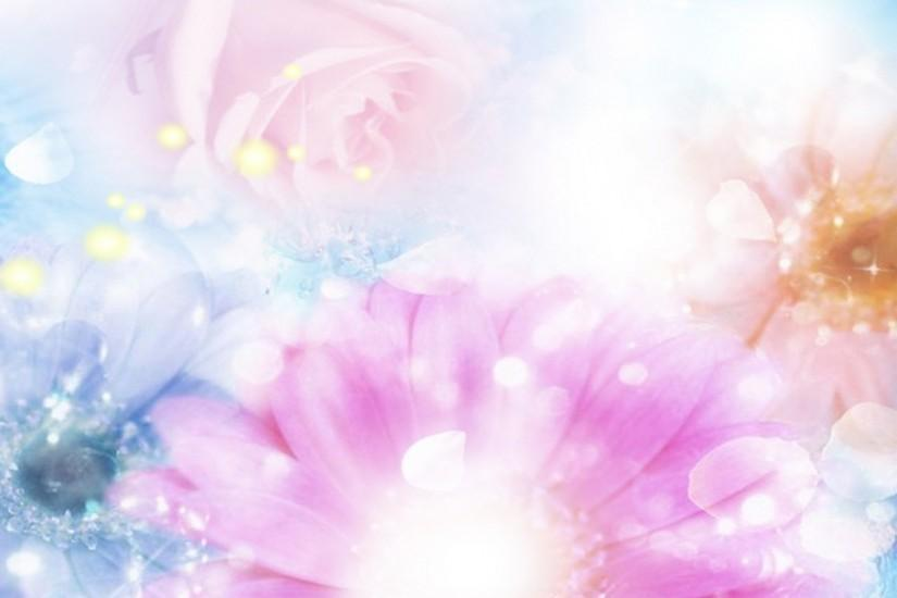 2048x2048 Wallpaper pink, blue, flowers, blurred, background, effects