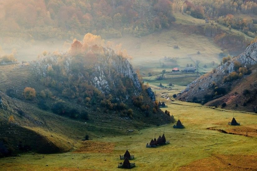 sunrise, Mountain, Valley, Romania, Cliff, Mist, Field, Forest, Villages,  Nature, Landscape Wallpapers HD / Desktop and Mobile Backgrounds