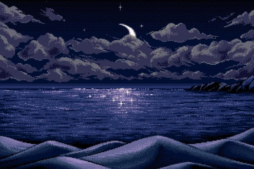 Clouds night moon pixel art lakes wallpaper | (35182)