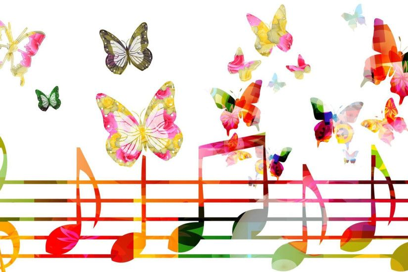 Musical notes and butterflies - HD color wallpaper Wallpaper .