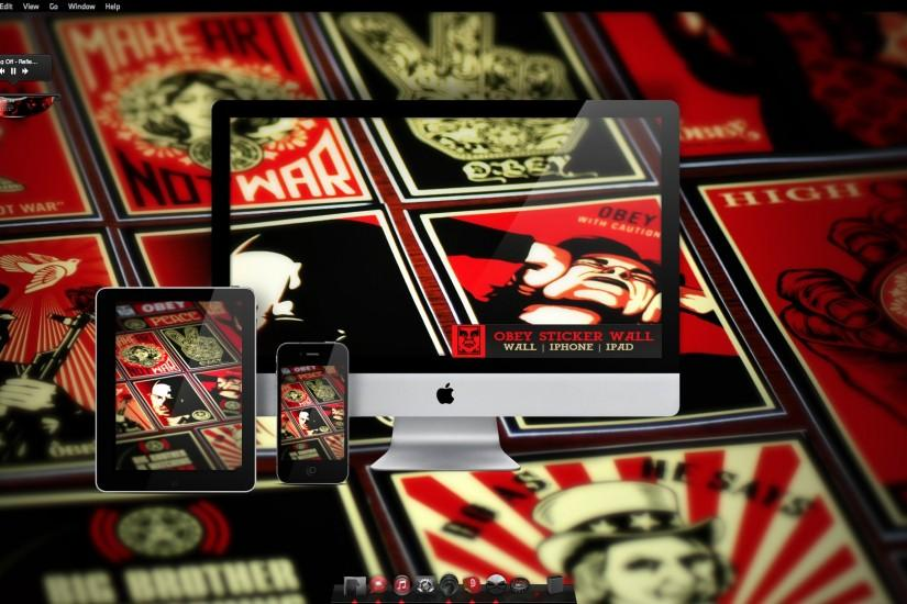 Obey Sticker Wallpaper by turnpaper Obey Sticker Wallpaper by turnpaper