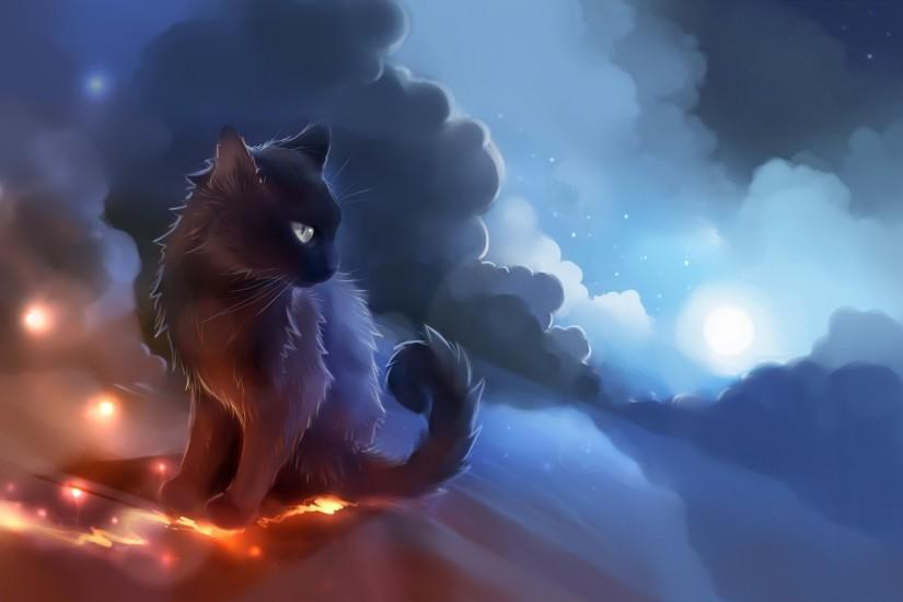 Artwork Cat Anime Glowing Clouds Apofiss FullHD Wallpaper