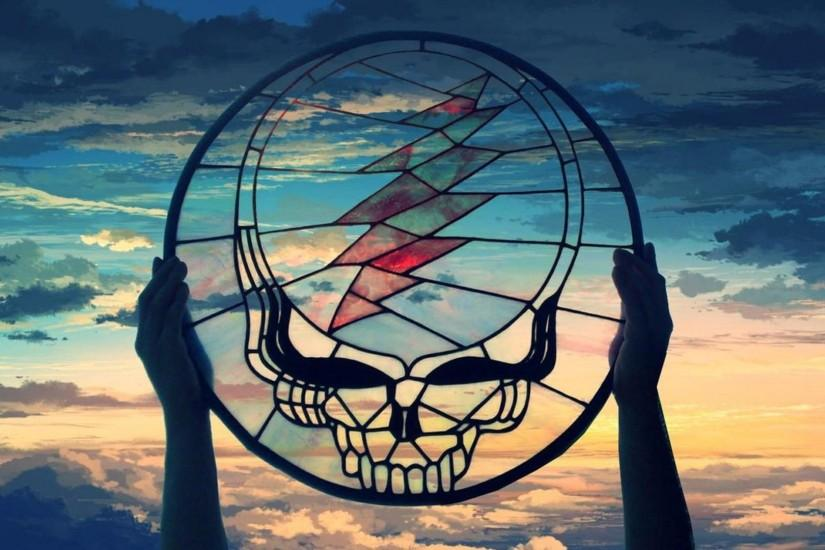 Grateful Dead (Stained Glass Stealie) over Painted Sky[1920x1080 .